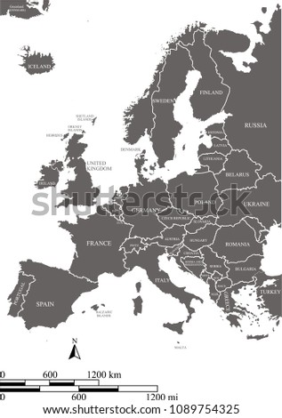 Outline Map Europe Countries Labeled Vector Stock Vector Royalty