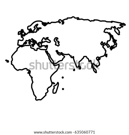 Outline Map European African Asian Continent Stock Vector Royalty