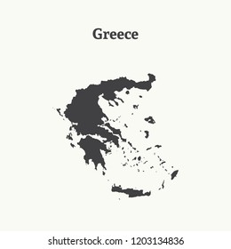 Outline map of Greece. Isolated vector illustration.