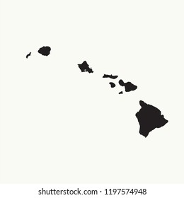 Outline map of Hawaii. Isolated vector illustration.