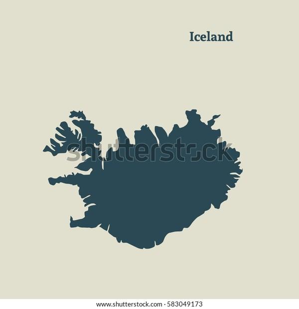 Kartta Islannin Eristetty Vektorikuva Arkistovektori