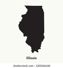 Outline map of Illinois. Isolated vector illustration.