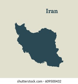 Outline map of Iran. Isolated vector illustration.