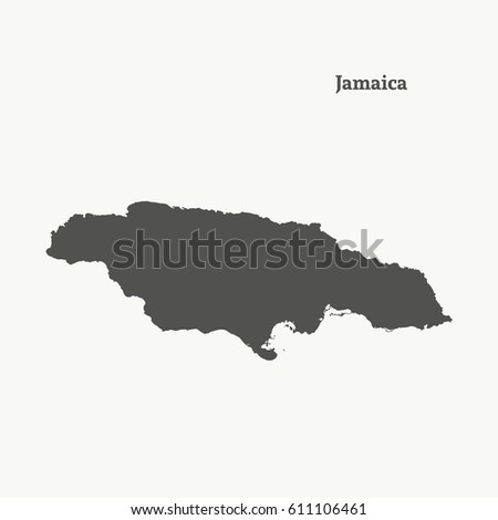 Outline Map Jamaica Isolated Vector Illustration Stock Vector ...