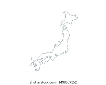 Outline Map of Japan Vector Design Template,isolated on white background