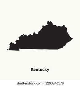 Outline map of Kentucky. Isolated vector illustration.