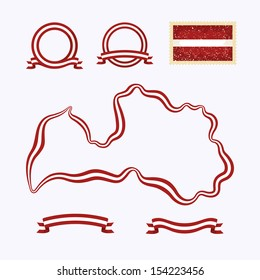 Outline map of Latvia. Border is marked with a ribbon in the national colors. The package contains a stamp with flag and frames. The file is made with no transparencies and gradients.