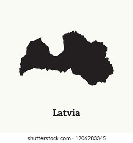 Outline map of Latvia. Isolated vector illustration.