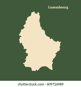 Outline map of Luxembourg. Isolated vector illustration.