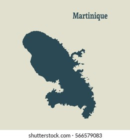 Outline map of  Martinique.