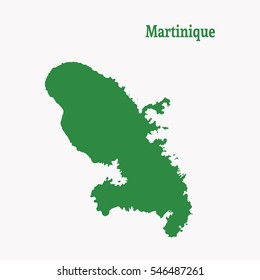 Outline map of  Martinique. Isolated vector illustration.