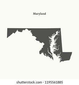 Outline map of Maryland. Isolated vector illustration.
