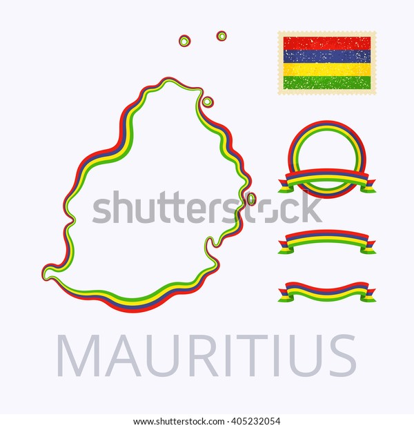 Outline Map Mauritius Border Marked Ribbon | Royalty-Free ...