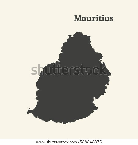 Outline Map Mauritius Isolated Vector Illustration Stock Vector ...