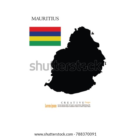 Outline Map Mauritius Nation Flagvector Illustration Stock Vector ...