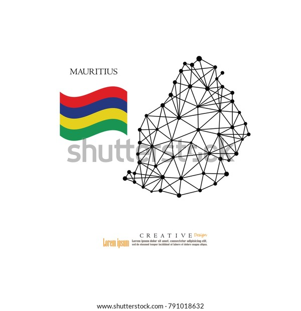 Outline Map Mauritius Nation Flagvector Illustration Stock ...