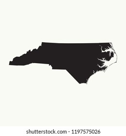 Outline map of  North Carolina. Isolated vector illustration.