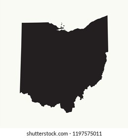 Outline map of  Ohio. Isolated vector illustration.