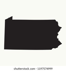 Outline map of  Pennsylvania. Isolated vector illustration.