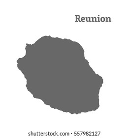 Outline map of  Reunion. Isolated vector illustration.