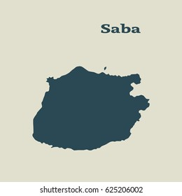 Outline map of Saba. Isolated vector illustration.