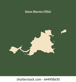 Outline map of Saint Martin. Isolated vector illustration.