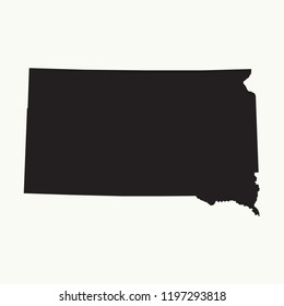 Outline map of South Dakota. Isolated vector illustration.