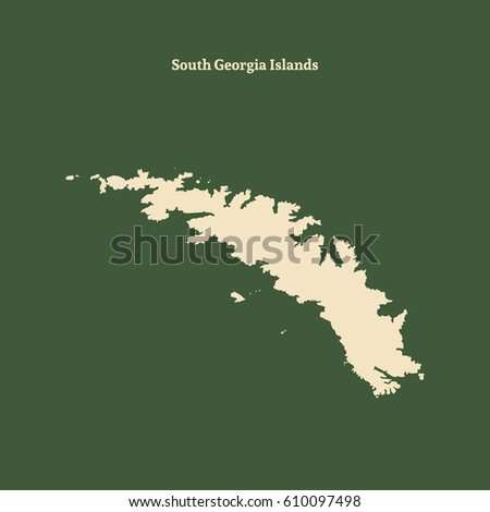 Map Of Georgia Islands.Outline Map South Georgia Islands Isolated Stock Vector Royalty