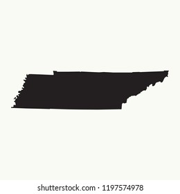 Outline map of Tennessee. Isolated vector illustration.