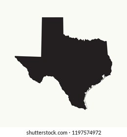Outline map of Texas. Isolated vector illustration.