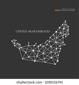 outline map of United Arab Emirates. vector illustration.