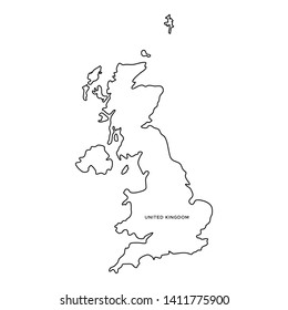 Outline Map of United Kingdom Vector Design Template. Editable Stroke