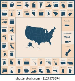 Outline map of the United States of America. 50 States of the USA. US map with state borders. Silhouettes of the USA and Guam, Puerto Rico, US Virgin Islands. Vector illustration.