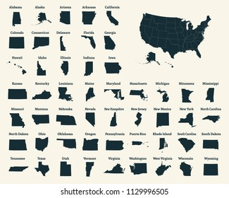 Outline map of the United States of America. 50 States of the USA. US map with state borders. Silhouette of the USA. Outline vector illustration.