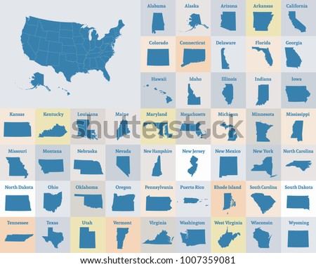 Outline Map United States America States Stock Vector (Royalty Free ...
