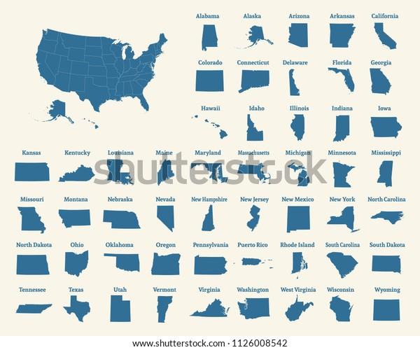Ubersicht Uber Die Vereinigten Staaten Von Stock Vektorgrafik