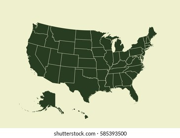 Outline map of USA. Isolated vector illustration. United States of America. US map with state borders. usa silhouette.