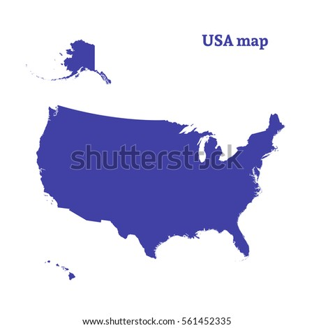 Outline Map USA Isolated Vector Illustration Stock Vector ...