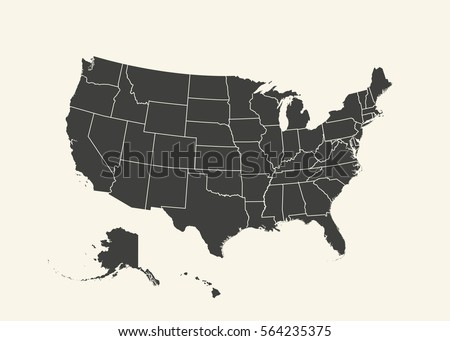 Outline Map USA Isolated Vector Illustration Stock Vector (Royalty ...