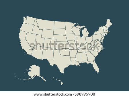 Outline Map Usa Isolated Vector Illustration Stock Vector Royalty