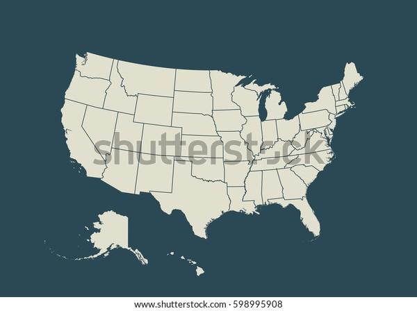 Ubersicht Der Usa Einzige Vektorgrafik Vereinigte Stock