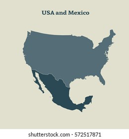 Outline map of USA and Mexico. Isolated vector illustration.