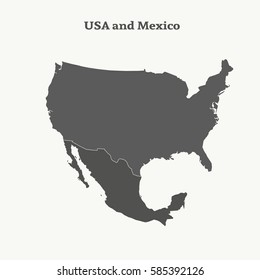Us+and+mexico+map Images, Stock Photos & Vectors | Shutterstock