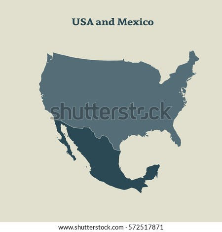 Outline Map Usa Mexico Isolated Vector Stock Vector Royalty Free