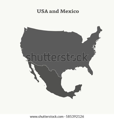 Map Of Usa Vector.Outline Map Usa Mexico Isolated Vector Stock Vector Royalty Free