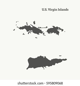 Outline map of Virgin Island. Isolated vector illustration.