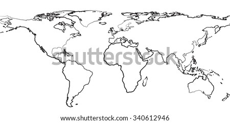Outline Map World On White Background Stock Vector (Royalty Free ...