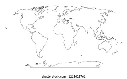 World Map Outline Images Stock Photos Vectors Shutterstock