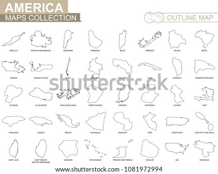 Map Of America Outline.Outline Maps American Countries Collection Black Stock Vector