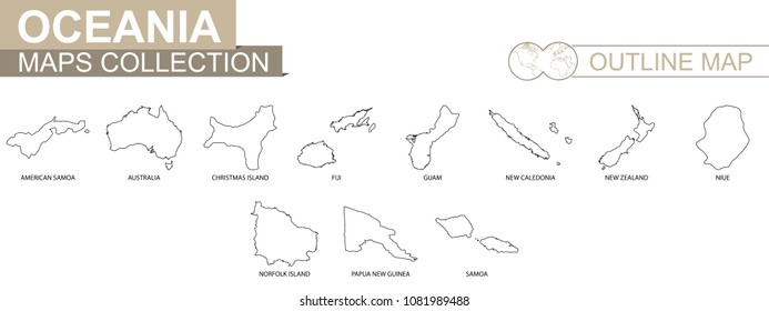 Outline maps of Oceanian countries collection, black lined vector map.